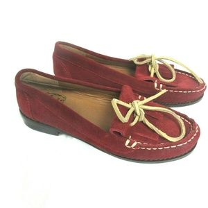 Lucky Brand Red Suede Leather Moccasins Loafers